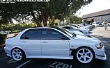 Mitsubishi Lancer Evolution 9 White Volk Racing TE37 Side